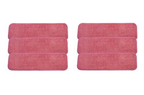 LTWHOME 42-45cm Nass oder Trocken Mop Pads mit Microfaser in Rot für leichte Reinigung (Packung mit 6)