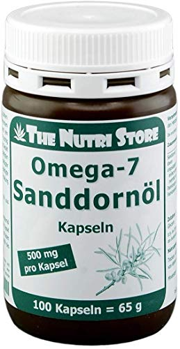 Omega-7 Sanddornöl 500 mg pro Kapsel - 100 Stk. - aus kontrolliert biologischem Anbau