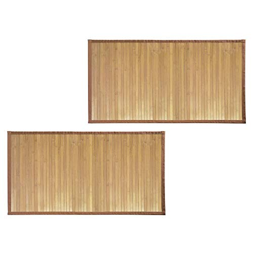mDesign Bamboo Rectangular Spa Bath Mat Rug with Fabric Trim - Water Resistant - for Bathroom Vanity, Bathtub/Shower, Entryway - Environmentally Friendly, 21' x 34' - 2 Pack - Natural Wood Finish