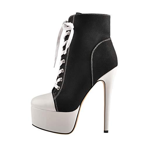 Only maker Damen Fashion Sneakers Plateau Ankle Boots Canvas Schnürstiefeletten Stiletto Schwarz 43 EU