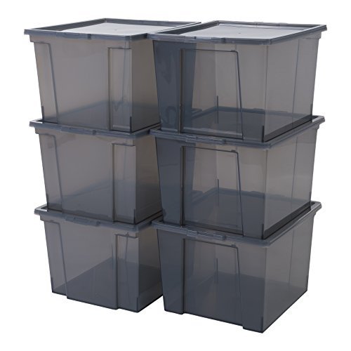 IRIS, 6er-Set Aufbewahrungsboxen / Kisten mit Deckel / Stapelboxen 'Useful Storage Box', USB-M, Kunststoff, transparentes Grau,42 x 36 x 26,5 cm