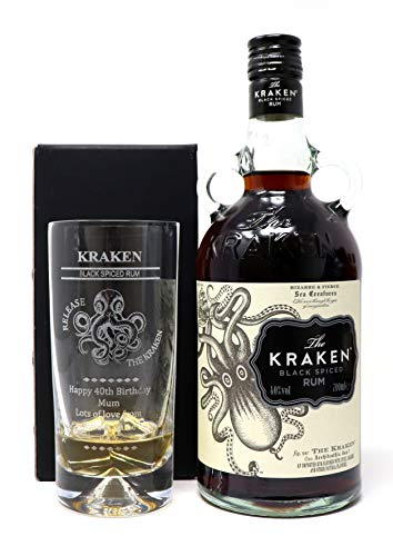 Personalised//Engraved *KRAKEN RUM* Dimple Glass Tumbler Mothers//Fathers//Day//Gift