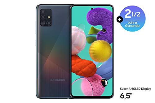 Samsung Galaxy A51 Android Smartphone ohne Vertrag, 4 Kameras, 6,5 Zoll Super AMOLED Display, 128 GB/4 GB RAM, Dual SIM, Handy in schwarz, deutsche Version