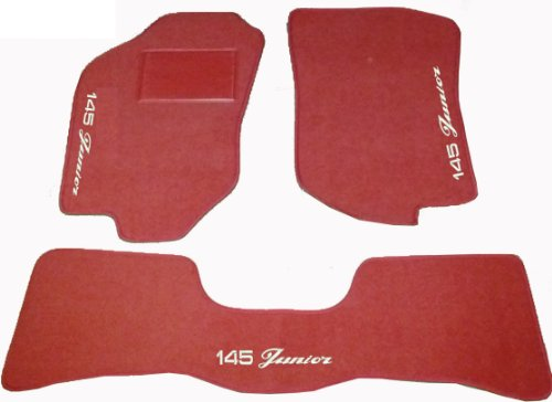 ALFA ROMEO 145Junior Teppiche für Auto rote mit hinten Vereinigten, Komplettset-Gummimatten passgenau, Stickerei auf Draht Bianco