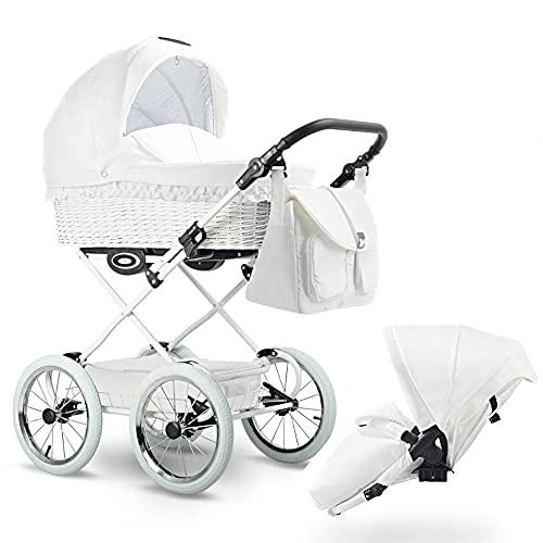 Retro Kinderwagen Weidenkorb Naturgeflecht Handmade Luftreifen 8 Farben Retro by Lux4Kids Snow R018 3in1 mit Babyschale