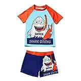 Traje de baño para niños y jóvenes, diseño de dibujos animados, ropa de natación, protección UV, compuesto por camiseta y pantalones cortos azul 12-24 meses