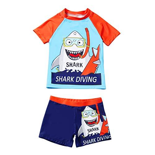 Bekleidungsset Sommer Babykleidung Kinder Baby Jungen Cartoon Tier T-Shirt Tops +Shorts Hosen Outfits Set Kleidungsset Neugeborenen Baby Kleidung Set (110, Weiß)