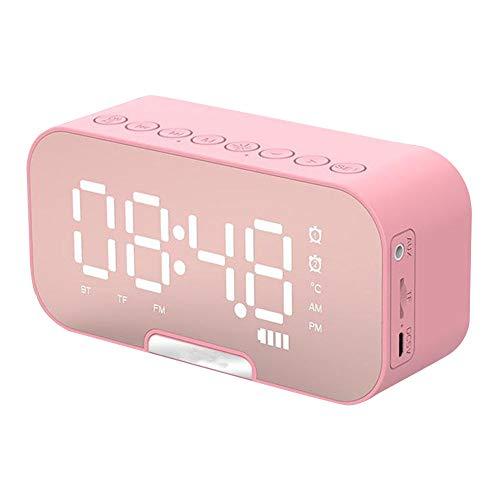 PIANYIHUO Despertador digital, pantalla grande, LED, superficie de espejo, 3 niveles, color rosa