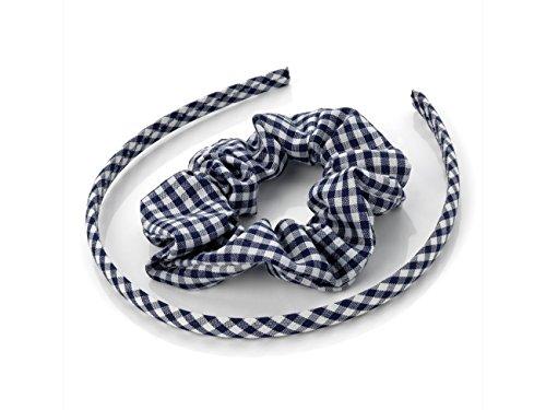 Vichy Bleu marine-tête et les Cheveux Chouchou set pratique accessory. match d'été idéale pour les uniformes scolaires.