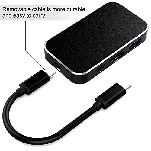 USB C Hub, avedio links 5-in-1 Type C Hub, USB C3.1 to HDMI 4K@60Hz, 3 USB 3.0 Ports, 100w USB-C Power Delivery, Portable for MacBook Pro, Nintendo Switch and Other Type C Laptops and Phones- (Black)