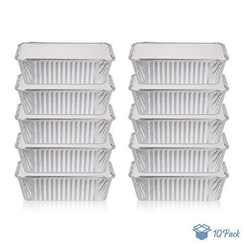 Pack de 10 recipientes desechables de aluminio de 1 litro con tapas, bandejas de papel de aluminio con tapas, buenas para hornear, cocinar, almacenar y congelar. Tamaño de la pan: 10,5 cm x 21 cm.