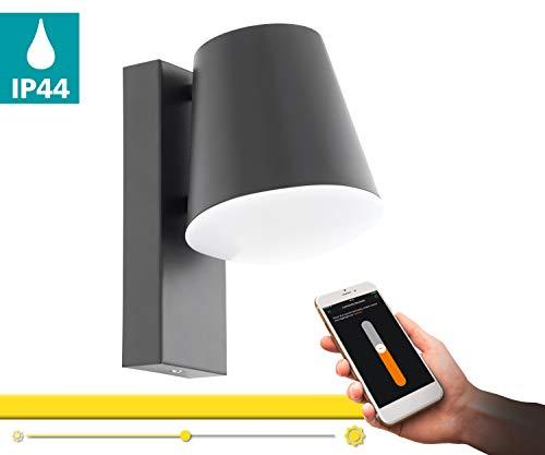 EGLO CALDIERO-C LED-wandlamp buiten - Smart Home buitenverlichting wandlamp in antraciet met 9 W - verzinkt staal - EGLO Connect wandlampen warmwit, dimbaar en bestuurbaar via afstandsbediening