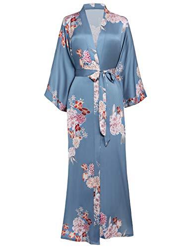 Coucoland Kimono para mujer, bata larga de satén, estilo chino japonés, para ropa de noche, fiesta, boda, pijama, fiesta, 135 cm