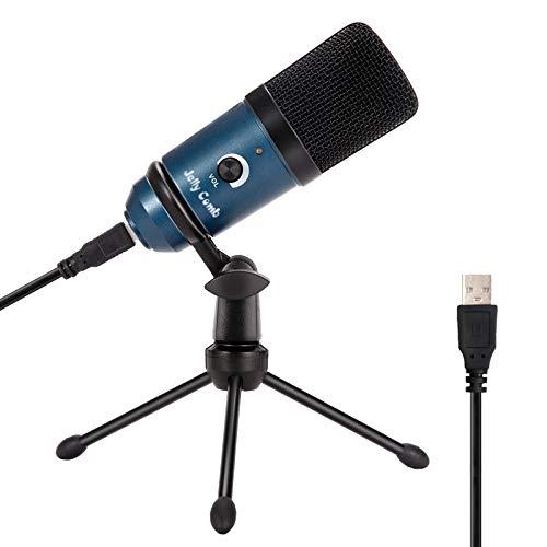 USB Mikrofon, Jelly Comb 192kHZ/24bit Popdcast Mikrofon, Kondensator Computer Mikrofon mit Stativständer, Recording Mikrofon für Podcasts, YouTube, PC, PS4(Blau)