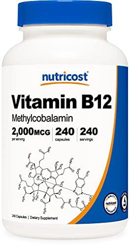 Nutricost Vitamin B12 (Methylcobalamin) 2000mcg, 240 Capsules - Vegetarian Caps, Non-GMO, Gluten Free B12 Supplement
