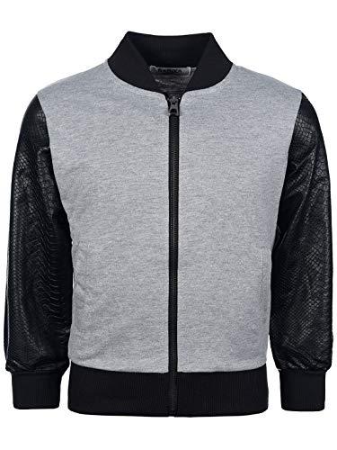 My Rock Jungen Sweat College Sweater Jacke Kunstleder Langarm Pullover Hoodie 30172 Grau 152
