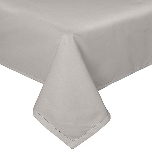 HOMESCAPES Nappe de Table rectangulaire, Linge de Table en Coton uni Gris - 137 x 178 cm