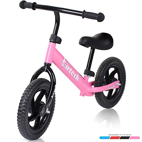 Balance Bike for Kids Toddler, 12'' No Pedal Strider Training Bicycle for 2,3,4 Years Old with Adjustable Seat Height, Airless Tire, Pink