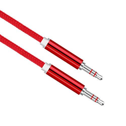 GK Audio - Aux Kabel   3,5mm Klinke Audio Kabel   Nylonummantelt   Male zu Male   Vernickelte Anschlüsse   3 Meter   Aux Kabel für Tablet, Smartphone, Auto, Musikanlagen UVM. (3 Meter, Rot)