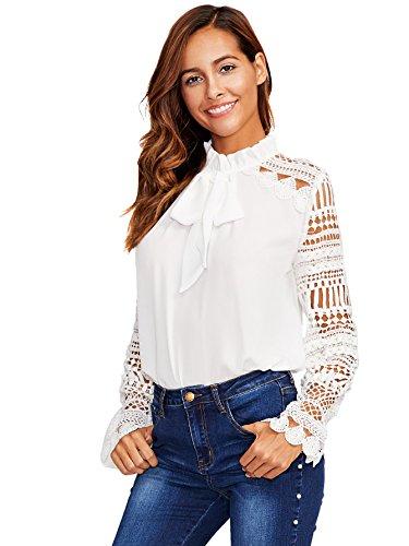 DIDK Damen Elegant Bluse mit Spitzen-Ärmeln und Schleife Langarm Sommerbluse Weiß L