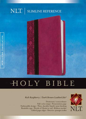 Compare Textbook Prices for Slimline Reference Bible NLT, TuTone Red Letter, LeatherLike, Rich Raspberry/Brown/Dark Brown Lea Edition ISBN 9781414397696 by Tyndale