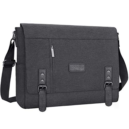 MOSISO Laptop Messenger Shoulder Bag Compatible with 2019 MacBook Pro 16 inch A2141, 15 15.4 15.6 inch Chromebook,Satchel Crossbody Sling Work Bussiness College Bag School Bookbag Briefcase,Space Gray