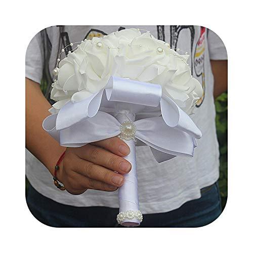 Johoo-Bikinis in Stock Bridesmaid Diamond Ribbon Bouquet PE Holding Flower Wedding Bouquet Foam Cream Rose De Mariage Wedding Bouquets FW007-Z White 18cm-