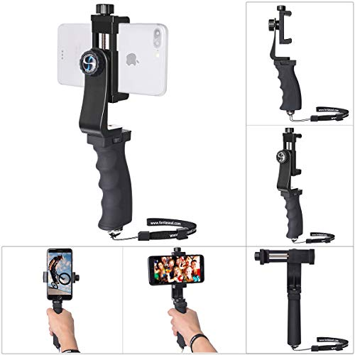 Poignée/Stabilisateur Smartphone Universel, Stabilisateur Téléphone Manul pour Vlog, Vidéo, Youtube, Monopod Selfie Pratique Compatible avec iPhone, Sumsang, Huawei, Xiaomi, etc.