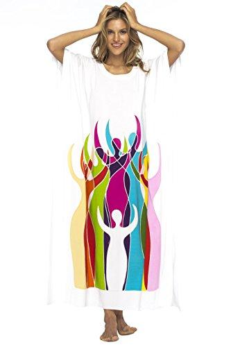 Back From Bali Womens Beach Dress Maxi Caftan Long Poncho Empowerment White