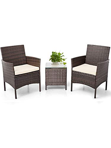 MIERES Outdoor Patio Furniture Sets, 3 Pieces Rattan Wicker Chairs, Garden Lawn Conversation with Cushioned and Glass Coffee Table for Lounge, Backyard Pool, Brown