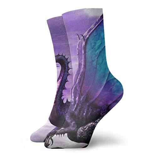 QUEMIN Calcetines deportivos deportivos divertidos unisex con alas de dragón, calcetines casuales para interiores y exteriores de 30 cm, adecuados para hombres, mujeres, medias de tripulación