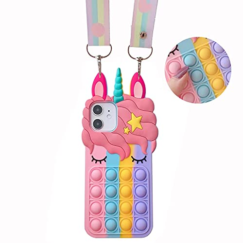 MME Fidget Toy Case for iPhone 13 Mini - Cute Animal Fidget Sensory Toy 3D Cartoon Soft Silicone Stress Reliever Toy with Rainbow Neck Lanyard for Women Girls Teens Kids (13 Mini)