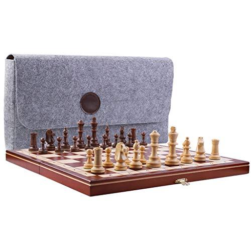 ZANZAN Juego de ajedrez de madera, juego de ajedrez magnético plegable de...