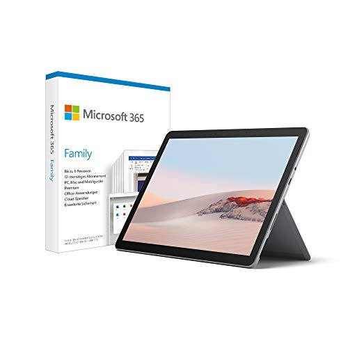 Microsoft Surface Go 2 LTE, 10 Zoll 2-in-1 Tablet (Intel Core M3, 8 GB RAM, 128 GB SSD, Windows 10 Home S) + Microsoft 365 Family | Box