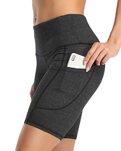 "3AXE Women's 8"" Yoga Shorts for Women High Waist Tummy Control Girls Bike Shorts Running Uniform Pants Side Pockets,Heather Grey Large"