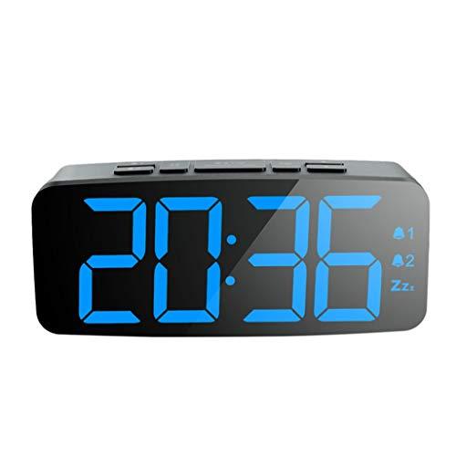 Alarm Clock Intelligent LED digitale display Snooze Night Light Backlight verduisteren 2 Set van Alarm for Huis slaapkamer Adult Desk Clock Stil Ontwerp (Color : Black, Size : 15cm*4.5cm*5.2cm)