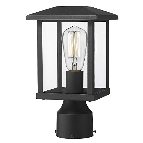 Emliviar Outdoor Post Light Fixtures, 1-Light Exterior Post Lantern in Black Finish with Clear Glass, 20064-P BK
