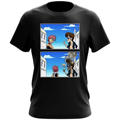 Okiwoki T-Shirt Homme Noir Parodie Fairy Tail - Natsu - Hé, mec, t'as Pas du feu. (T-Shirt de qualité Premium de Taille L - imprimé en France)