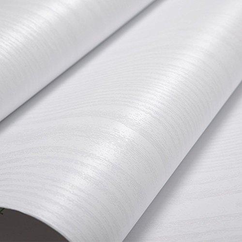 Glow4u Estantería de vinilo autoadhesiva con textura de madera blanca para armarios de cocina, mesa, encimera de 40 x 500 cm