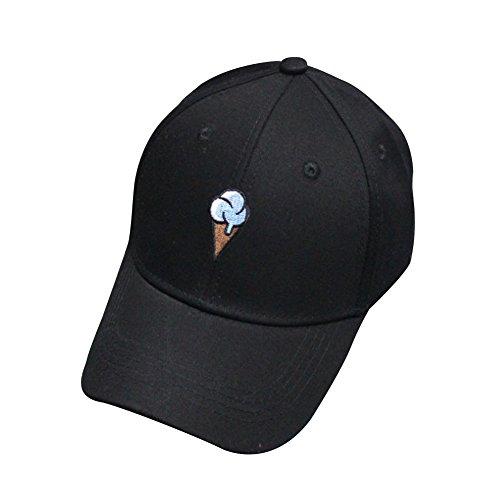 La Cabina Homme Femme Casquette de Base-ball Snapback Cap en Coton avec Glace en Broderie pour Sports Hip-Pop Populaire Noir