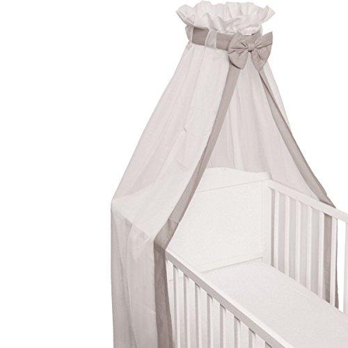 Babybett Schleier/Betthimmel (Mit Schleife) Für Babybetten 60 x 120 cm / 70 x 140 cm (GRAU)
