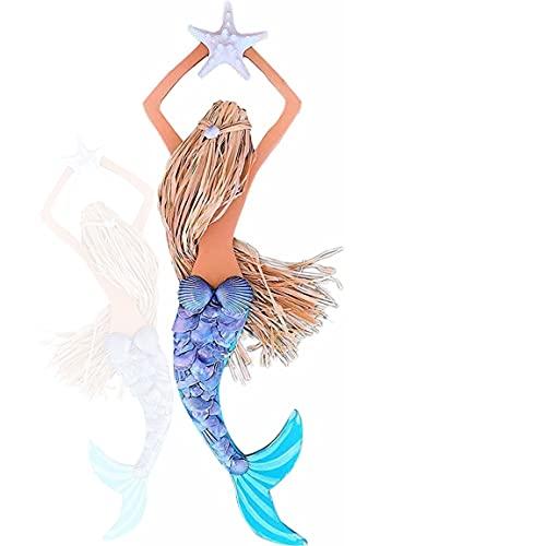 UKETO Wooden Mermaid Wall Art-Seashell Mermaid Wall Art ?Painted Tail Mermaid Decor? 18inch Seashell Mermaid Hanging Ornament Stained Home Decoration for Girls Room (Gray Hair)