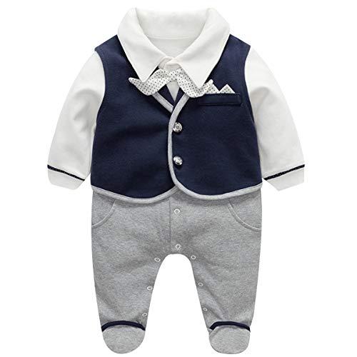 Famuka Baby Junge Smoking Neugeborenen Anzug Taufe Hochzeit Babykleidung (Blau, 3-6 Monate/66)