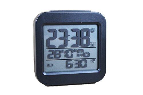 Tchibo TCM Digitaler Funkwecker mit LC Display Wecker schwarz Funk Temperaturanzeige