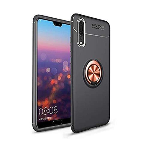 Compatible con Huawei P20 Pro, carcasa de anillo de silicona TPU con soporte magnético para el coche, funda original para Huawei P20 Pro Oro rosa negro. Talla única