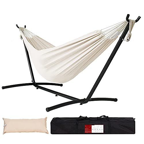 Lazy Daze Double Cotton Hammock with Space Saving Steel...