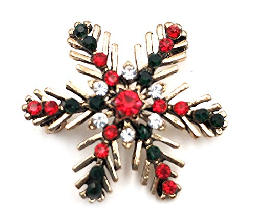 Broche Pin de Navidad con diseño de copo de nieve, joyería vintage de metal dorado para mujer ropa decoración brillante Rhinestone elegante y especial broches