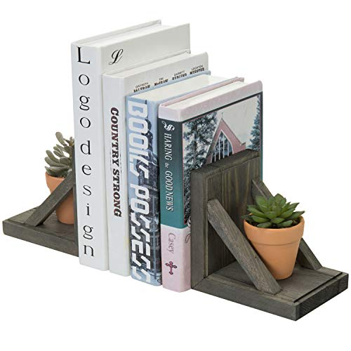 MyGift 2 Piece Set Vintage Gray Wood and Brass Metal Decorative Desktop Bookends