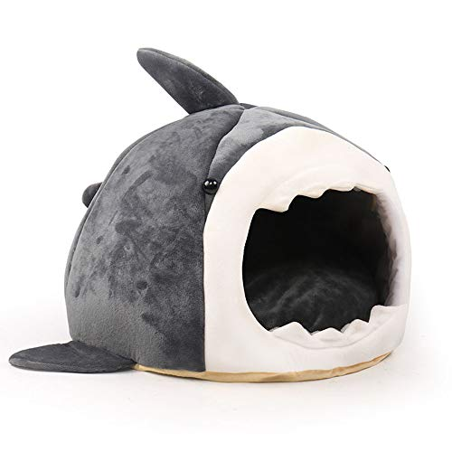 ZYXJSQ Pet Bedding For Small Animals, Sleeping Cushions For Cats And Dogs Shark Den Lovely Fully Enclosed Design Moisture-proof Not Deformed Fashion,L