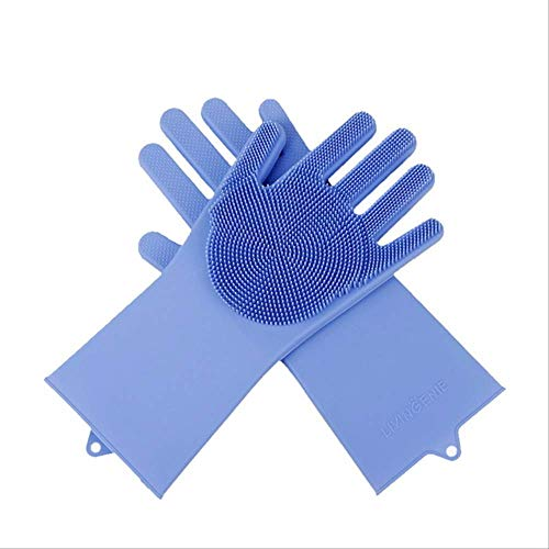 Gants Vaisselle Silicone Épurateur Gant Alimentaire Chien Brosse Gants De Lavage De Voiture Nettoyage Rondelle Vaisselle Gants Accessoires De Cuisine 4 pièces bleu